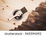 paint brush on the can lying on ... | Shutterstock . vector #545594392