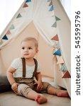 portrait of lovely little boy... | Shutterstock . vector #545595796