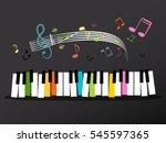 music keyboard with colorful... | Shutterstock .eps vector #545597365