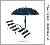 Beach Chair And Umbrella Icon....