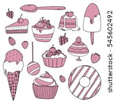 set of vector  pink and white...   Shutterstock .eps vector #545602492