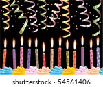 vector row of birthday candles...