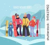 skier family on vacation.... | Shutterstock . vector #545615902