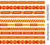 set of red ribbons with yellow... | Shutterstock .eps vector #545619892