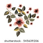 vintage flowers embroidery patch | Shutterstock vector #545639206