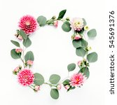 round frame with pink flower... | Shutterstock . vector #545691376