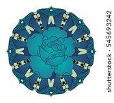 rose in mandala. vintage... | Shutterstock .eps vector #545693242