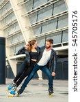 beautiful roller skater couple...   Shutterstock . vector #545705176