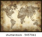 map of world drawn onto old... | Shutterstock . vector #5457061