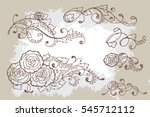set of hand drawn calligraphic... | Shutterstock .eps vector #545712112