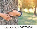 women hug big tree color of... | Shutterstock . vector #545750566