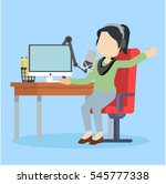 radio broadcaster on air | Shutterstock .eps vector #545777338