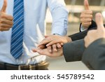 hand group teamwork join hands... | Shutterstock . vector #545789542