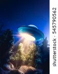 low key image of ufo hovering...   Shutterstock . vector #545790562