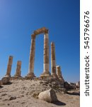 Small photo of Rome temple ruins,Only stand tall pillars,Citadel Hill of Amman, Amman,Jordan