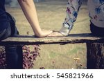 romantic couple sitting on a... | Shutterstock . vector #545821966