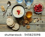healthy breakfast. crispbread ... | Shutterstock . vector #545825098