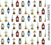 seamless pattern with lanterns... | Shutterstock .eps vector #545839792