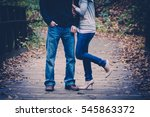 couple embracing on wooden... | Shutterstock . vector #545863372
