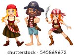 three pirate characters on... | Shutterstock .eps vector #545869672