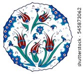tulip. decorative turkish plate....   Shutterstock .eps vector #545873062