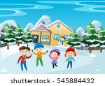 winter scene with children... | Shutterstock .eps vector #545884432