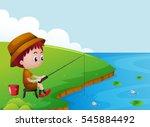 Little Boy Fishing By The Rive...
