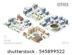 set of isolated isometric... | Shutterstock .eps vector #545899522