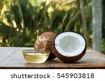 coconut and coconut oil with... | Shutterstock . vector #545903818
