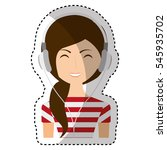 young woman with headset... | Shutterstock .eps vector #545935702