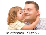 Little Girl Kissing Her Father...