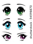set of cartoon anime eyes | Shutterstock .eps vector #54598870