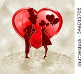 on the background of red heart... | Shutterstock .eps vector #546013705