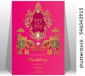 indian wedding invitation card... | Shutterstock .eps vector #546043915