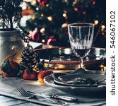 christmas festive table setting | Shutterstock . vector #546067102
