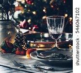 christmas festive table setting | Shutterstock . vector #546067102