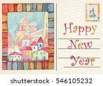 hand drawn back postcard happy... | Shutterstock . vector #546105232