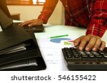 close up man using calculator... | Shutterstock . vector #546155422