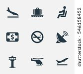 set of 9 simple plane icons.... | Shutterstock . vector #546158452