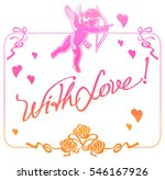 cupid with bow hunting for... | Shutterstock . vector #546167926