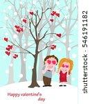 vector postcard for valentine's ... | Shutterstock .eps vector #546191182