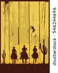 Silhouette Of Three Cowboys...