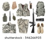Set of military stuff on white...