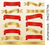 set of red and gold ribbons and ... | Shutterstock .eps vector #546275746