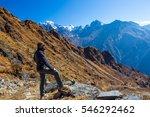 sportive bearded man in travel... | Shutterstock . vector #546292462