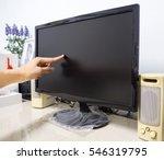 asian man finger touch screen... | Shutterstock . vector #546319795