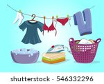 laundry shop set isolated  | Shutterstock .eps vector #546332296