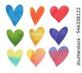 happy valentines day watercolor ... | Shutterstock .eps vector #546338122