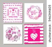 set of valentines day postcards.... | Shutterstock .eps vector #546344605