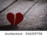 Red Broken Heart On Wooden...